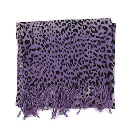 100% Merino Wool Leopard Print Scarf - Purple