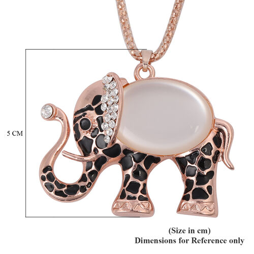 Simulated Diamond and Multi Gemstone Enamelled Elephant Pendant with Chain (Size 28 with 2 inch Extender)