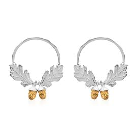 Diamond (Rnd) Oak and Acorn Earrings (with Push Back) Platinum and Yellow Gold Overlay Sterling Silv