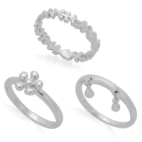 Set of 3 - LucyQ Splat and Double Drip Ring in Rhodium Plated Sterling Silver 6.68 Gms.