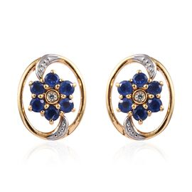 1.25 Ct Burmese Blue Sapphire and Zircon Floral Stud Earrings in Gold Plated Sterling Silver