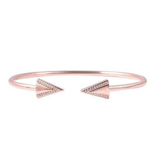 LucyQ Natural White Cambodian Zircon Arrow Bangle in Rose Gold Plated Sterling Silver 8 Inch
