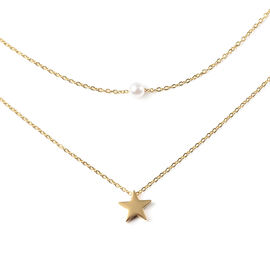 "Personalise Engravable Star and Imitation pearl layered necklace 15.5"" , Stainless Steel"