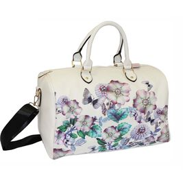 Floral Printed Large Size Duffle Weekend Bag (Size 32x41x22Cm)  - White
