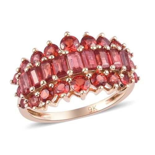 Limited Edition- 9K Yellow Gold AAA Red Sapphire Ring 2.50 Ct.