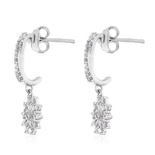 Designer Inspired-Diamond (Rnd) Earrings (with Push Back) in Platinum Overlay Sterling Silver 0.500 Ct.