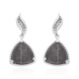Tucson Special - Meteorite (Trl), Natural Cambodian Zircon Drop Earrings (with Push Back) in Platinu