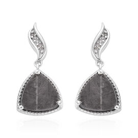 Meteorite (Trl), Natural Cambodian Zircon Drop Earrings (with Push Back) in Platinum Overlay Sterlin