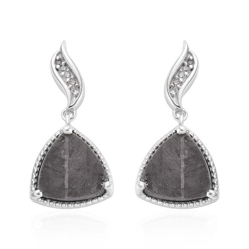 14.19 Ct Meteorite and Zircon Solitaire Drop Earrings in Platinum Plated Sterling Silver