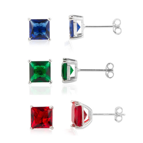 NY Close Out Deal- Set of 3 - Simulated Emerald, Ruby and Sapphire (Princess Cut) Stud Earrings (with Push Back) in Rhodium Overlay Sterling Silver, Silver wt 4.00 Gms.