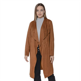 LA MAREY Faux Suede Long Waterfall Open Front Jacket in Dark Brown Colour