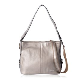 SENCILLEZ Super Soft 100% Genuine Leather Metallic Gold Colour Shoulder Bag with External Zipper Poc