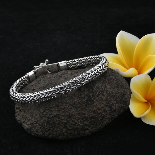 Royal Bali Collection Sterling Silver Tulang Naga Bracelet (Size 7), Silver wt 44.00 Gms.