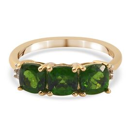 Russian Diopside and Diamond Ring in 14K Gold Overlay Sterling Silver 1.84 Ct.