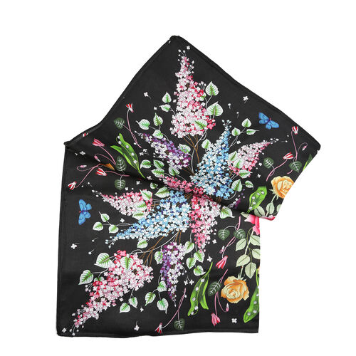 LA MAREY Pure 100% Mulberry Silk Scarf with Velvet Drawstring Pouch in Spring Birds Print -Multi (Size 52x52cm)