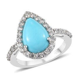 4 Carat AAA Arizona Sleeping Beauty Turquoise and Zircon Halo Ring in Platinum Plated Silver