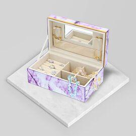 Amethyst Gemstone Jewellery Storage Box with Golden Rim and Inside Mirror (Size 21x13x8.5 cm)
