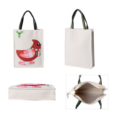 Tote Bag with Bird Pattern (Size 26x8x32 Cm) - Beige