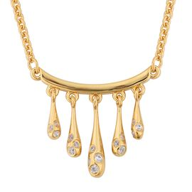 LucyQ Natural White Cambodian Zircon (Rnd) Five Drip Necklace (Size 20) in Yellow Gold Overlay Sterl