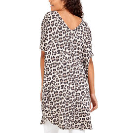 Nova of London Off Shoulder Leopard Print V-Neck Oversized Top in Beige (Length 92cm) (Size up to 20