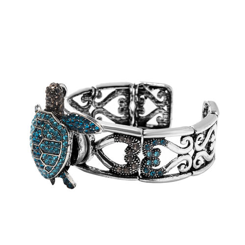 Blue and Multi Colour Austrian Crystal Magnetic Bangle (Size 7) with Tortoise Brooch and Pendant