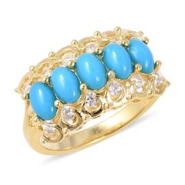 AAA Arizona Sleeping Beauty Turquoise (Ovl 6x4 mm), Natural White Cambodian Zircon Ring in Yellow Go