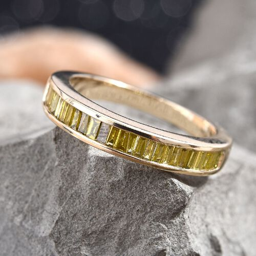 0.50 Ct Yellow Diamond Half Eternity Band Ring in 9K Yellow Gold