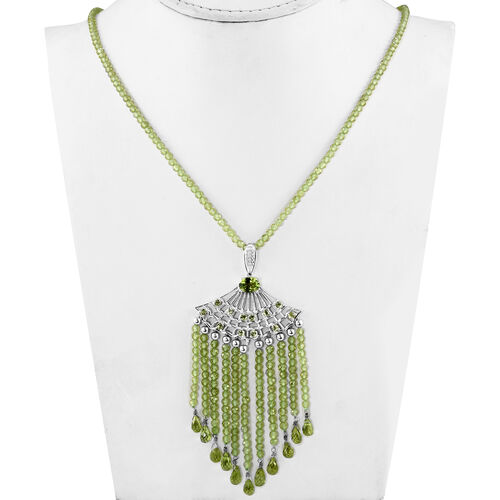 Hebei Peridot Necklace (Size 18 with 2 inch Extender) in Platinum Overlay Sterling Silver 127.50 Ct, Silver wt 6.00 Gms