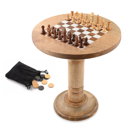 Natural Mango Wood Chess and CheckersTable (Size 35x30 Cm)