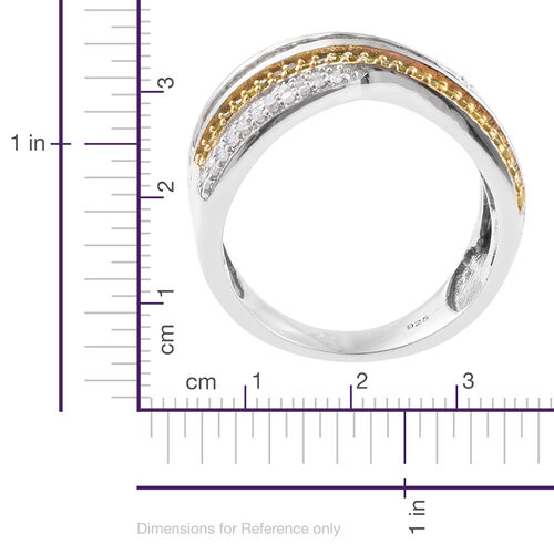 Yellow Diamond (Rnd), White Diamond Criss Cross Ring in Platinum and Gold Overlay Sterling Silver 1.000 Ct. Silver wt 6.50 Gms.