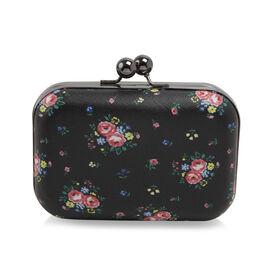 Floral Pattern Evie Clutch Bag with Chain - Black Colour