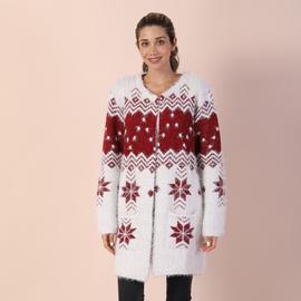 TAMSY White and Burgundy Pattern V-Neck Jacket
