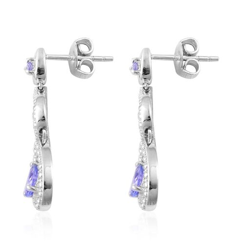 Tanzanite (Pear) Earrings (with Push Back) in Platinum Overlay Sterling Silver