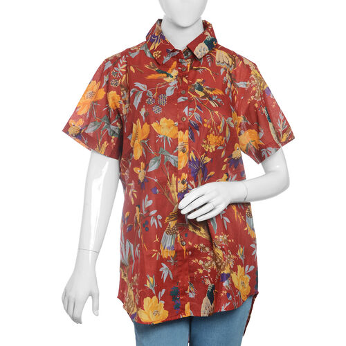 Designer Inspired-100% Cotton Red, Yellow and Multi Colour Flower, Leaves and Birds Pattern Apparel