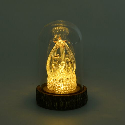 Home Decor - LED Light Nativity with Glass Cover (Size 11X7X7 Cm)
