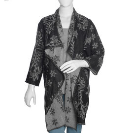 Designer Inspired -Black and Grey Colour Floral Pattern Jacket (Size 80X50 Cm)