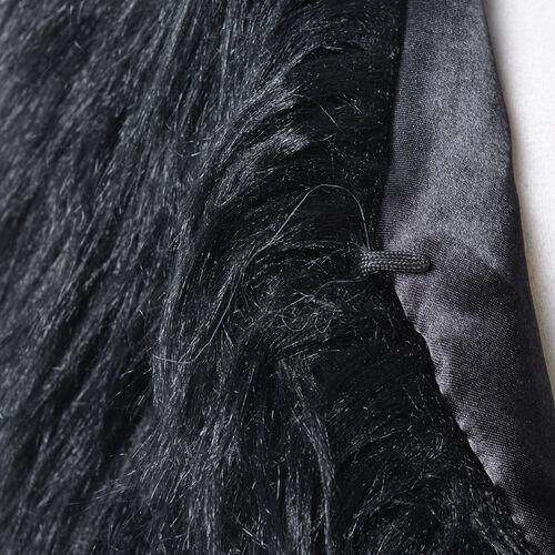 Designer Inspired Super Soft Black Colour Faux Fur Vest (Size 60X52 Cm)