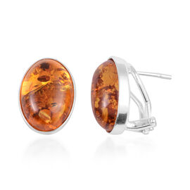 Amber Solitaire Stud Earrings in Rhodium Plated Sterling Silver