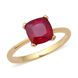 African Ruby (Cush 8x8 mm) Solitaire Ring in Yellow Gold Overlay Sterling Silver 3.500 Ct.