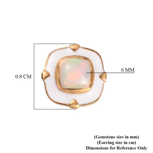Ethiopian Welo Opal Enamelled Stud Earrings (with Push Back) in 14K Gold Overlay Sterling Silver