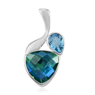 Sajen Silver CULTURAL FLAIR Collection- Celestial Swiss Blue Mystic Quartz , Peacock Triplet Quartz