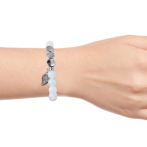 Opalite (Rnd), Stretchable Beads Bracelet (Size 7) with Charm in Silver Tone 75.00  Ct.
