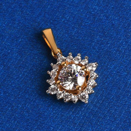 J Francis - 14K Gold Overlay Sterling Silver Pendant  Made with SWAROVSKI ZIRCONIA