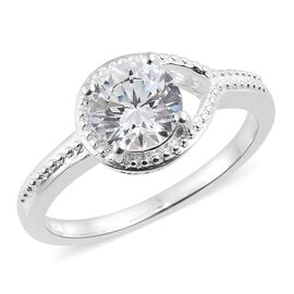 J Francis - Sterling Silver (Rnd) Solitaire Ring Made with SWAROVSKI ZIRCONIA