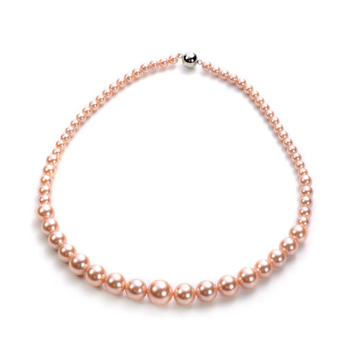 3 Piece Set - Peach Shell Pearl Stretchable Bracelet (Size 7), Necklace (Size 20 with Magnetic Lock) and Earrings (with Push Back) in Stainless Steel
