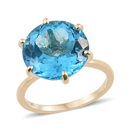 TJC Launch- 9K Yellow Gold AAA Extremely Rare Marambaia Topaz (Rnd 14mm) Ring 12.500 Ct.