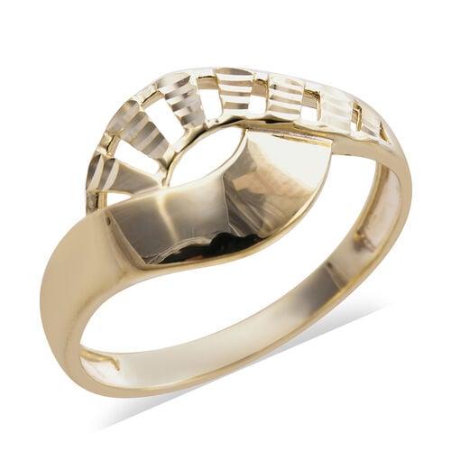 Royal Bali Texture Diamond Cut Ring in 9K Yellow Gold