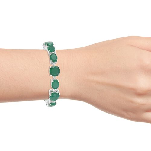 Cocktail Collection- Verde Onyx Bracelet (Size 7.5) in Platinum Overlay Sterling Silver 35.000 Ct. Silver wt 17.00 Gms.