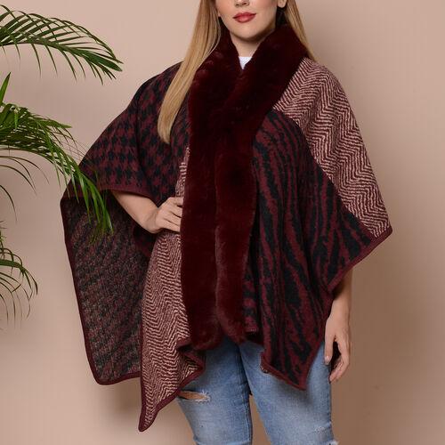 Wave Print Kimono with Faux Fur Collar (Size 78x125cm) - Burgundy