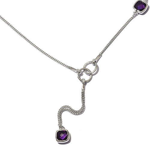 Sunday Child-  Amethyst and Natural Cambodian Zircon Necklace (Size 26) in Platinum Overlay Sterling Silver 8.75 Ct, Silver wt. 15.00 Gms